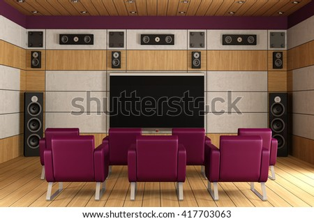 Contemporary home theater room with purple armchair and wooden panels -3d  rendering - stock photo