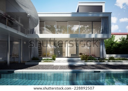 Contemporary home with open floor design and curtains blowing in the wind with a pool view.   - stock photo