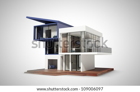 contemporary house  on a white background - stock photo