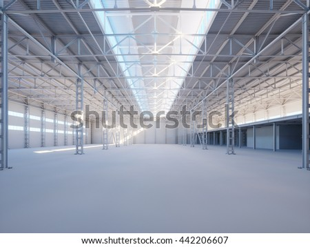 Contemporary industrial building interior illuminated by sunlight 3d illustration background - stock photo