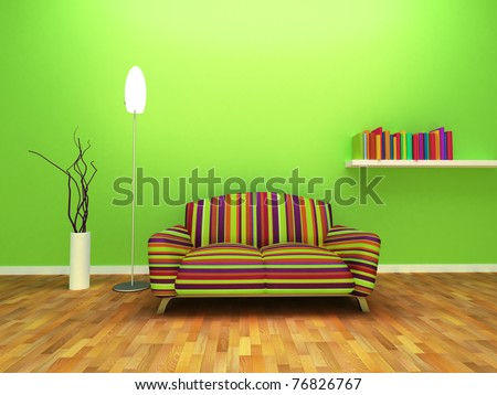 Contemporary Interior design of living room with decor and furniture. - stock photo
