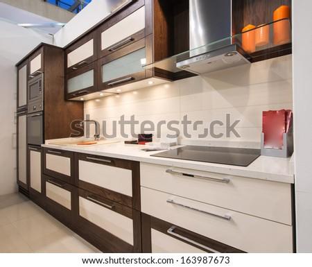 contemporary kitchen interior - stock photo