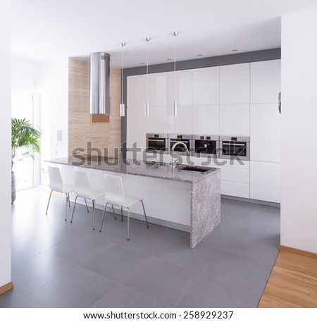 Contemporary kitchen interior in beauty detached house - stock photo