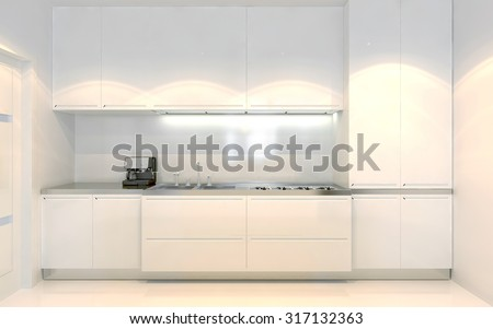Contemporary kitchen trend. White furniture with ecru decoration. Front view. Using of white color. 3D render - stock photo