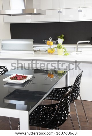 Contemporary kitchen with modern appliances - stock photo