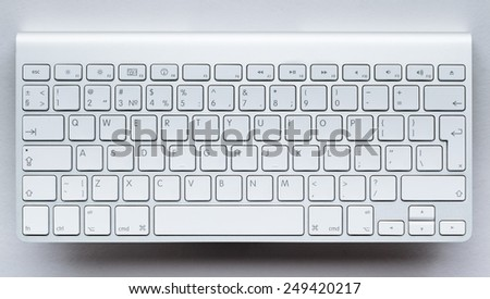 Contemporary light keyboard of computer - stock photo