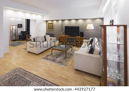 contemporary living room - stock photo