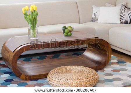 contemporary  living room with blue carpet - stock photo