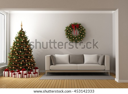 Contemporary living room with christmas tree ,gift and modern sofa - 3d rendering - stock photo