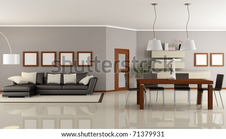contemporary living room with dining space - rendering - stock photo