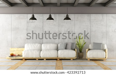 Contemporary living room with pallet sofa,concrete wall and iron beams - 3d rendering - stock photo