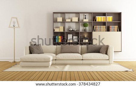 Contemporary living room with sofa and modern bookcase - 3D Rendering - stock photo