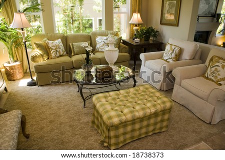 Contemporary living room with stylish decor. - stock photo