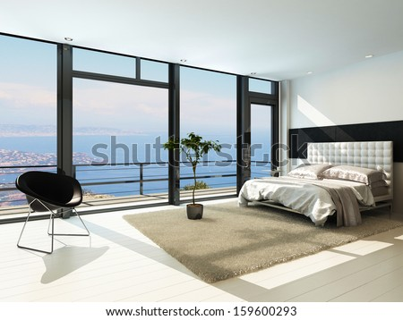 Contemporary modern sunny bedroom interior with huge windows - stock photo