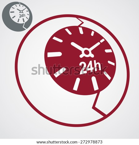 Contemporary red stylized 24 hours detailed icon, additional version included. Twenty-four hours a day business 3d conceptual design element â?? time management symbolic object. - stock photo