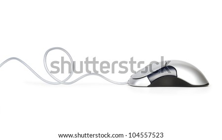 Contemporary  silver computer mouse isolated on white background - stock photo