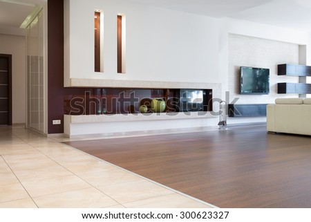 Contemporary sitting room in luxury detached house - stock photo