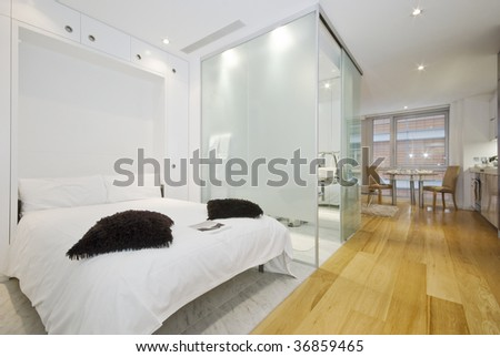 contemporary suite apartment with living areas - stock photo