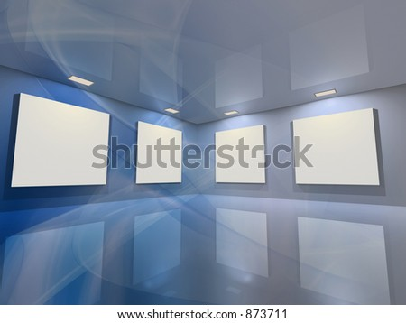 Contemporary virtual interior with blank frames for your exhibition. - stock photo