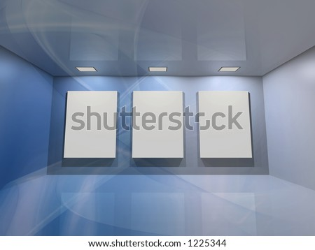 Contemporary virtual interior with three blank frames for your exhibition. - stock photo