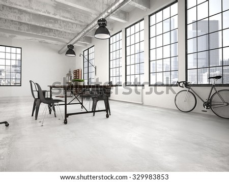 Contemporary workplace in a loft interior. 3d rendering - stock photo