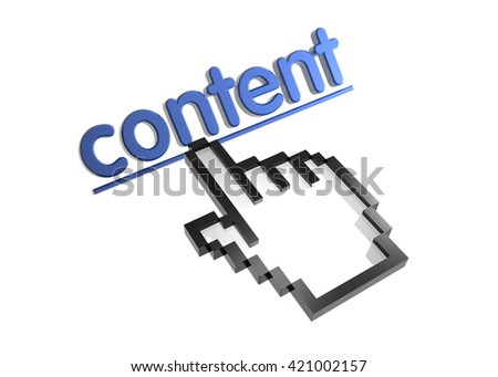 content. 3d rendered inscription. Link and finger, pointer. Isolated on white - stock photo
