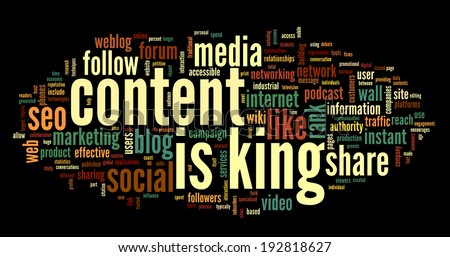 Content is king concept in word tag cloud on black background - stock photo