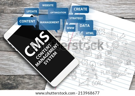 content management system concept - stock photo