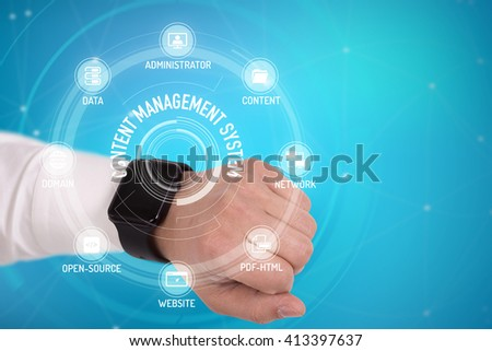 CONTENT MANAGEMENT SYSTEM CONCEPT with Icons and Keywords - stock photo