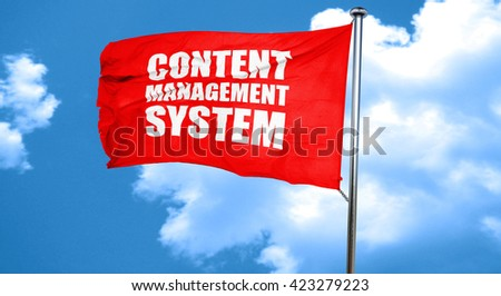 content management system, 3D rendering, a red waving flag - stock photo