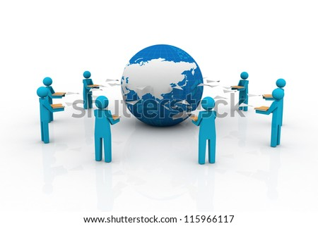 Content Management System in File Sharing Art. People sharing file. - stock photo