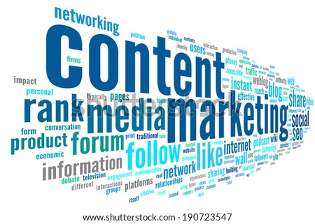 Content marketing concept in word tag cloud on white background - stock photo