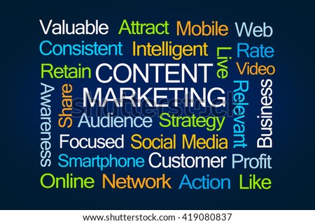 Content Marketing Word Cloud on Blue Background - stock photo