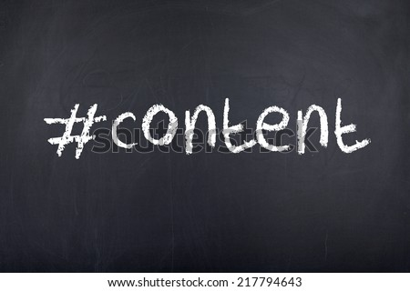 Content word with hashtag sign - stock photo