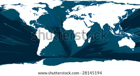 continents of planet Earth surrounded by divide - stock photo