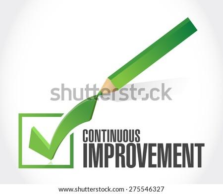 continuous improvement check mark sign concept illustration design over white background - stock photo