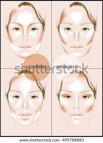 Contour and Highlight makeup. Contouring face make-up. Sample idea. Fashion illustration - stock photo