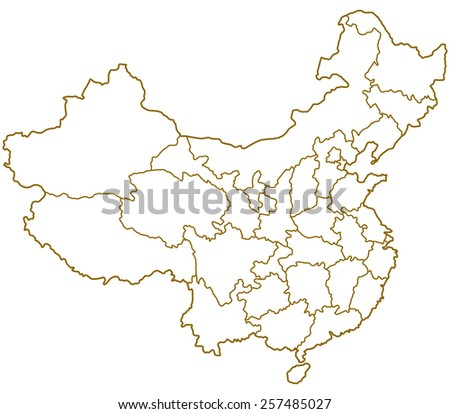 Contour map of the China  - stock photo
