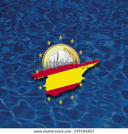 Contour of Spain with European Union stars and euro coin against blue background, digital composite - stock photo