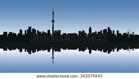 Contour of the big city on a blue background.  - stock photo