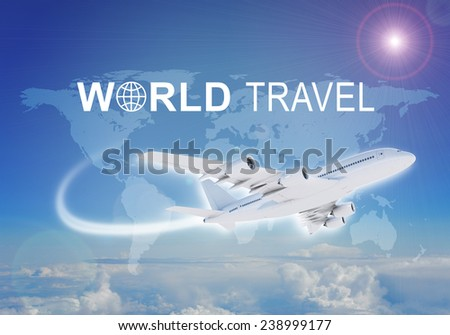 Contoured map of world continents with inscription World Travel and related symbol. Flying jet airliner on foreground, Earth surface, clouds and sky as backdrop. - stock photo