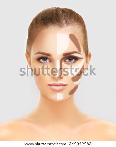 Contouring.Make up woman face. Contour and highlight makeup. - stock photo