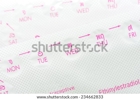 Contraceptive pill or Birth control pill - stock photo