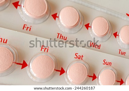 Contraceptive Pill with English Instructions. - stock photo
