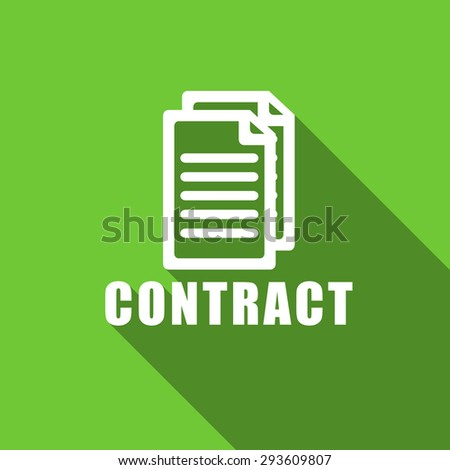 contract flat icon  original modern design green flat icon for web and mobile app with long shadow  - stock photo