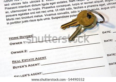 Contract for the sale of a New Home (lorem ipsum - fake text) - stock photo