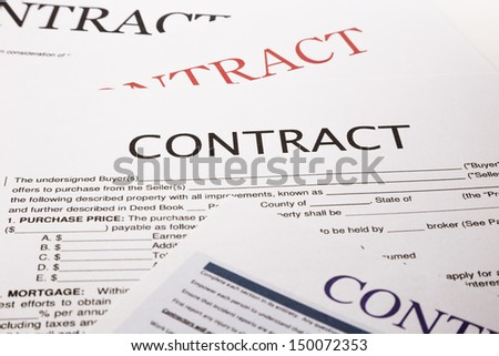 contract form, business concept and legal system - stock photo