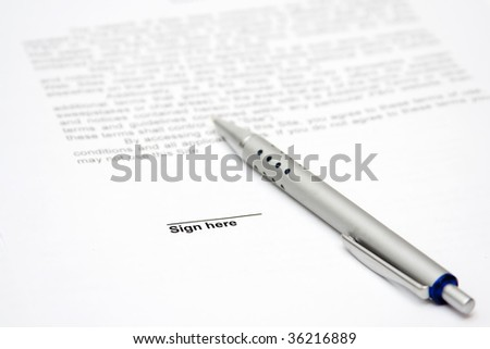 Contract with  pen to be signed - stock photo