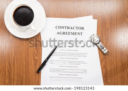 contractor agreement - stock photo