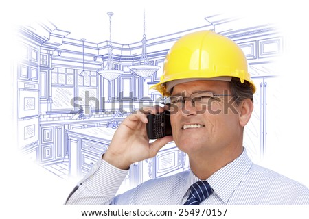 Contractor in Hardhat on Cell Phone Over Custom Kitchen Drawing on White. - stock photo